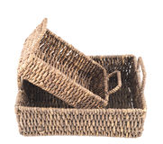 2 коричневых плетеных изолированной корзины Стоковые Фотографии RF