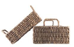 2 коричневых плетеных изолированной корзины Стоковые Изображения RF