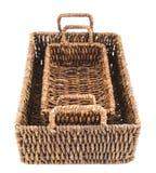 2 коричневых плетеных изолированной корзины Стоковая Фотография RF