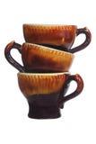 3 коричневых чашки Стоковое Изображение RF