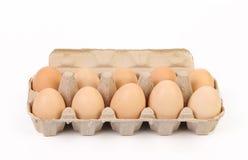 10 коричневых яичек в коробке яичка Стоковые Фото
