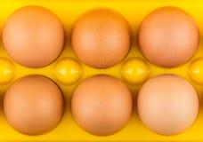 6 коричневых яичек цыпленка в желтом контейнере Стоковая Фотография RF