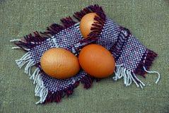 3 коричневых яичка в шерстяной шали Стоковое Изображение