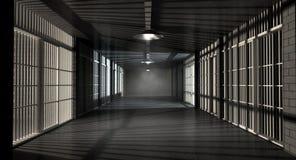 Коридор и клетки тюрьмы иллюстрация штока