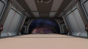 Коридор Sci fi с взглядом галактики космоса Стоковая Фотография