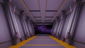 Коридор Sci fi с взглядом галактики 3d космоса представляет иллюстрация вектора