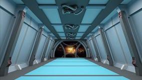 Коридор Sci fi с взглядом галактики 3d космоса представляет Стоковые Изображения RF