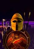 Кормило и экраны ратника древней греции Стоковые Изображения