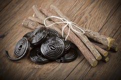 Корни солодки и чернота солодки Стоковое Изображение RF
