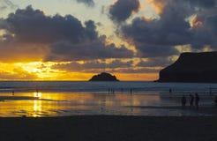 Корнуольский заход солнца 2 Стоковая Фотография RF