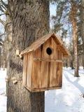Коробка вложенности на дереве в древесине зимы стоковое фото
