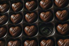 Коробка в форме сердц шоколада, одной конфеты пустой Стоковые Фото