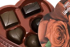 Коробка дня ` s валентинки шоколадов Стоковое Изображение