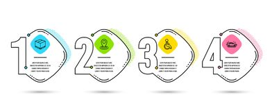 Коробка доставки, значки инвалидов и положения Знак автомобиля Пакет груза, с ограниченными возможностями кресло-коляска, указате иллюстрация вектора