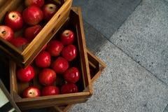 Коробка деревянной клети вполне свежих красных яблок Стоковая Фотография RF