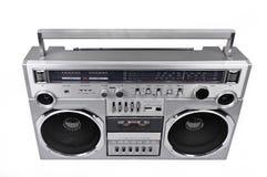 коробка заграждения радио 1980s серебряная изолированная на белизне над Стоковое Фото