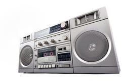 коробка заграждения радио 1980s серебряная изолированная на белизне Стоковая Фотография RF