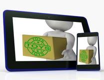 Коробка игрушек значит покупки и приобретение для детей или детей иллюстрация штока