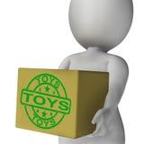 Коробка игрушек значит покупки и приобретение для детей иллюстрация вектора
