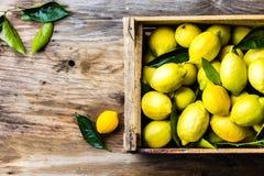 Коробка лимонов с свежими листьями на деревянной предпосылке с космосом экземпляра Взгляд сверху Стоковое фото RF