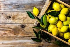 Коробка лимонов с свежими листьями на деревянной предпосылке с космосом экземпляра Взгляд сверху Стоковые Изображения