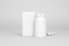 Коробка и бутылка пилюлек на серой предпосылке бесплатная иллюстрация