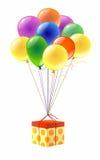 Коробка и воздушные шары Стоковая Фотография