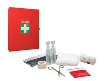 Коробка и медицинские поставки скорой помощи Стоковые Фотографии RF