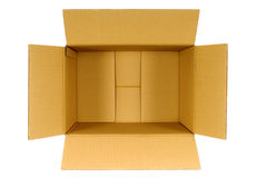 Коробка, картонная коробка взгляд сверху открытая простая коричневая пустая пустая изолированная на белизне Стоковое Изображение RF