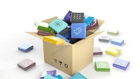 Коробка коробки с скошенными квадратными apps иллюстрация штока