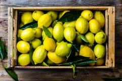 Коробка лимонов с свежими листьями на деревянной предпосылке с космосом экземпляра Взгляд сверху Стоковая Фотография RF