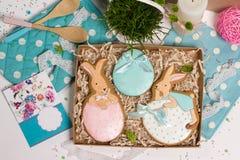 Коробка настоящего момента праздника семьи, карточка подарка, мед-торт кроликов пасхи Стоковое Изображение RF