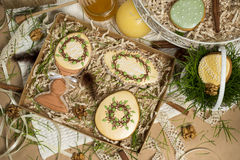 Коробка настоящего момента праздника семьи, мед-торты пасхи, дизайн весны торжества Стоковые Изображения RF