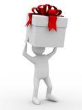 коробка носит белизну человека Стоковая Фотография RF