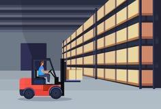 Коробка пакета склада затяжелителя грузоподъемника работая внутренняя на концепции обслуживания груза поставки шкафа логистическо иллюстрация вектора