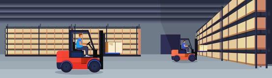 Коробка пакета склада затяжелителя грузоподъемника работая внутренняя на концепции обслуживания груза поставки шкафа логистическо бесплатная иллюстрация