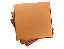 Коробка пиццы, пустой коричневый цвет, изолированный на белой предпосылке, взгляд сверху Стоковые Фотографии RF