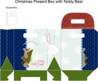Коробка подарка рождества шаблона с плюшевым медвежонком. Стоковое Изображение RF