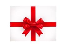 Коробка подарка с красным смычком тесемки Стоковое Изображение RF