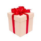 Коробка подарка с красным смычком Стоковая Фотография