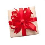 Коробка подарка с красным смычком Стоковая Фотография RF
