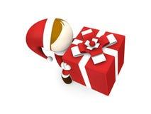 Коробка подарка удерживания Santa Claus Стоковые Фотографии RF