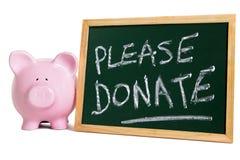 Коробка пожертвования призрения пожалуйста дарит сообщение, piggybank Стоковое Изображение RF