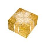 Коробка подарка иллюстрации золотая квадратная Стоковые Изображения