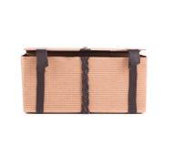 Коробка подарка с кожаными шнурками Стоковое фото RF