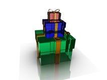 Коробка подарков над иллюстрацией предпосылки 3d Стоковые Фотографии RF