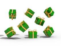 Коробка подарков над иллюстрацией предпосылки 3d Стоковое Изображение RF