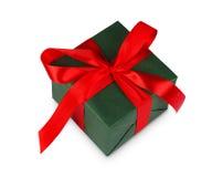 Коробка праздничного подарка рождества в зеленой книге изолированной на белизне Стоковое Фото