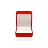 Коробка пустой свадьбы красная для кольца изолированного на белизне Стоковые Изображения RF