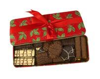 Коробка рождества заполненная с печеньями Стоковое Фото